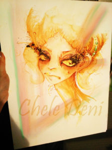 golden-lady-almost-finished-evening-sun-chele-deni-aquarelle-aquarellbilder