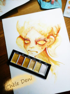 golden-new-colours-lady-aquarelle-aquarellbilder-chele-deni